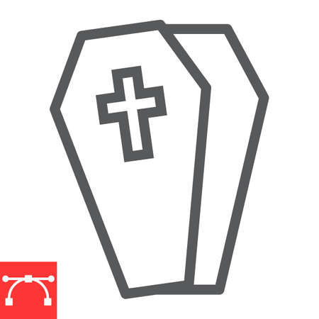Coffin line icon, halloween and scary, casket sign vector graphics, editable stroke linear icon  イラスト・ベクター素材