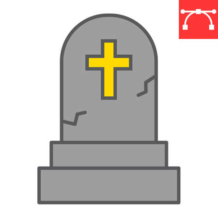 Gravestone color line icon, halloween and scary, tombstone sign vector graphics, editable stroke filled outline icon