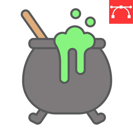 Witch cauldron color line icon, halloween and scary, witch pot sign vector graphics, editable stroke filled outline icon  イラスト・ベクター素材