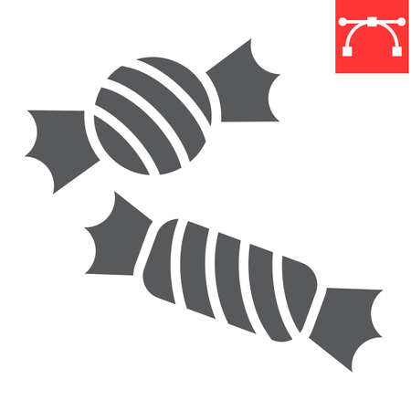 Candies glyph icon, halloween and scary, candy sign vector graphics, editable stroke solid icon