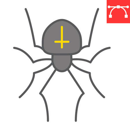 Spider color line icon, halloween and scary, arachnid sign vector graphics, editable stroke filled outline icon