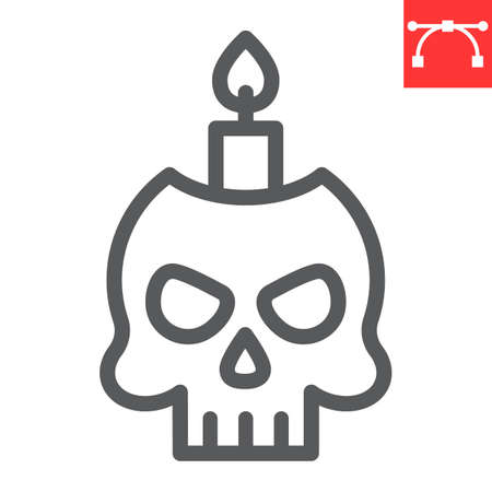 Skull with candle line icon, halloween and scary, halloween skull sign vector graphics, editable stroke linear icon