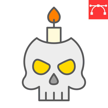 Skull with candle color line icon, halloween and scary, halloween skull sign vector graphics, editable stroke filled outline icon