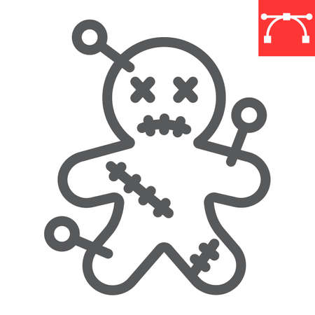 Voodoo doll line icon, halloween and scary, voodoo doll sign vector graphics, editable stroke linear icon, eps 10.