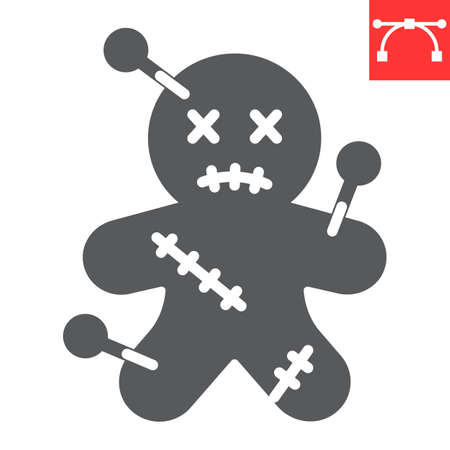 Voodoo doll glyph icon, halloween and scary, voodoo doll sign vector graphics, editable stroke solid icon  イラスト・ベクター素材
