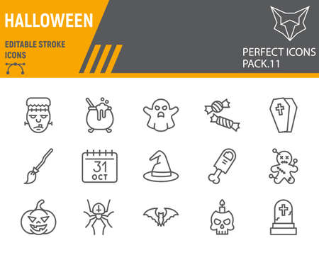 Halloween line icon set, holiday symbols collection, vector sketches, logo illustrations, halloween icons, horror signs linear pictograms, editable stroke.
