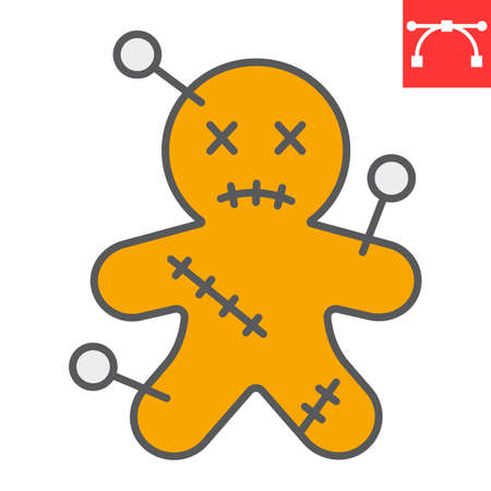 Voodoo doll color line icon, halloween and scary, voodoo doll sign vector graphics, editable stroke filled outline icon  イラスト・ベクター素材