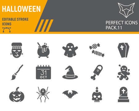 Halloween glyph icon set, holiday symbols collection, vector sketches, logo illustrations, halloween icons, horror signs solid pictograms, editable stroke. Vettoriali