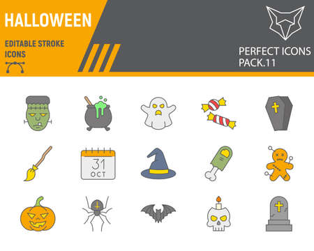 Halloween color line icon set, holiday symbols collection, vector sketches, logo illustrations, halloween icons, horror signs filled outline pictograms, editable stroke.