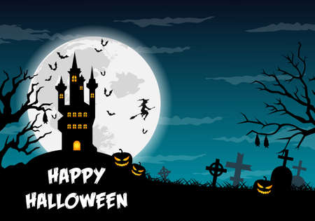 Happy halloween poster, trick or treat card, halloween party background, flyer template with horror elements, halloween vector illustration. Ilustración de vector