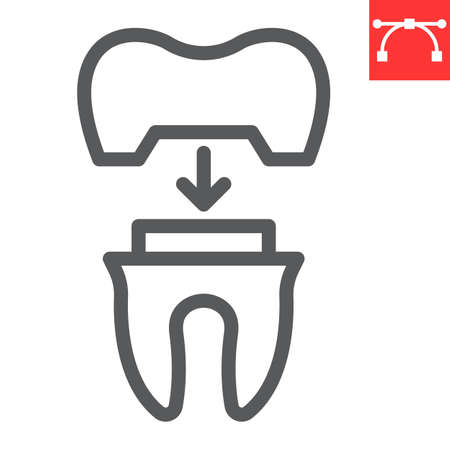 Dental crown line icon, dental and stomatolgy, tooth crown sign vector graphics, editable stroke linear icon