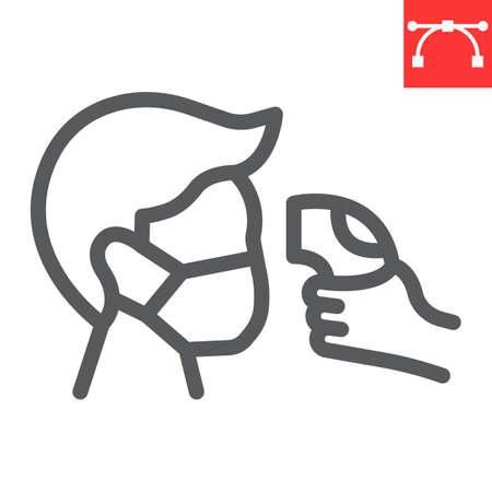 Check body temperature line icon, coronavirus and covid-19, checking body temperature sign vector graphics, editable stroke linear icon, eps 10.