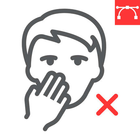 Do not touch your face line icon, coronavirus and covid-19, don t touch face sign vector graphics, editable stroke linear icon, eps 10. Stok Fotoğraf - 153658780