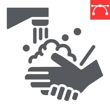Washing your hands glyph icon, coronavirus and covid-19, hand washing sign vector graphics, editable stroke solid icon, eps 10. Çizim