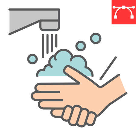 Washing your hands color line icon, coronavirus and covid-19, hand washing sign vector graphics, editable stroke filled outline icon, eps 10. Çizim
