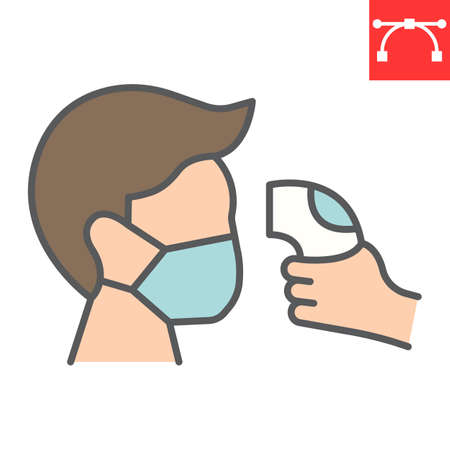 Check body temperature color line icon, coronavirus and covid-19, checking body temperature sign vector graphics, editable stroke filled outline icon, eps 10. Stok Fotoğraf - 153658788