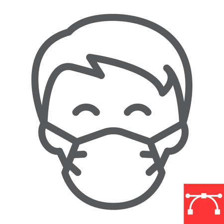 Man in face mask line icon, coronavirus and covid-19, wearing mask sign vector graphics, editable stroke linear icon, eps 10. Stok Fotoğraf - 153658803