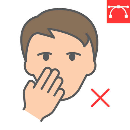 Do not touch your face color line icon, coronavirus and covid-19, don t touch face sign vector graphics, editable stroke filled outline icon, eps 10.