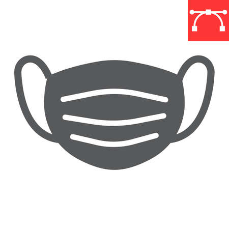 Medical mask line icon, protection and covid-19, surgical mask sign vector graphics, editable stroke linear icon, eps 10. Stok Fotoğraf - 153658810