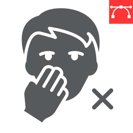 Do not touch your face glyph icon, coronavirus and covid-19, don t touch face sign vector graphics, editable stroke solid icon, eps 10. Çizim