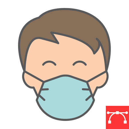 Man in face mask line icon, coronavirus and covid-19, wearing mask sign vector graphics, editable stroke linear icon, eps 10.