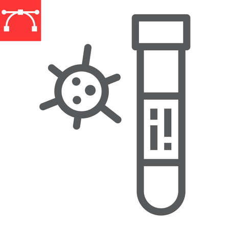 Covid-19 blood test tube line icon, coronavirus and diagnosis, blood test tube sign vector graphics, editable stroke linear icon, eps 10. Çizim