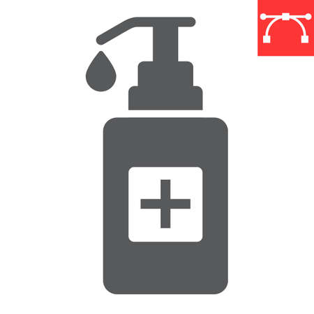 Hand sanitizer glyph icon, protection and covid-19, antiseptic sign vector graphics, editable stroke solid icon, eps 10.