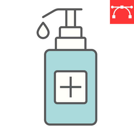 Hand sanitizer color line icon, protection and covid-19, antiseptic sign vector graphics, editable stroke filled outline icon, eps 10. Stok Fotoğraf - 153658944