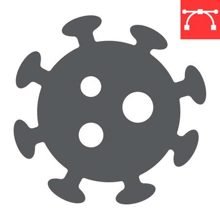 Coronavirus glyph icon, virus and covid-19, 2019-ncov sign vector graphics, editable stroke solid icon, eps 10.