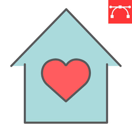 Stay at home color line icon, coronavirus and covid-19, quarantine sign vector graphics, editable stroke filled outline icon, eps 10. Stok Fotoğraf - 153658984