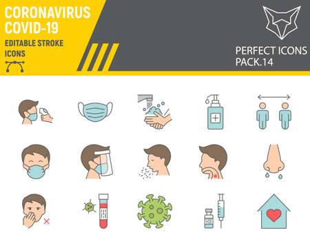 Coronavirus color line icon set, prevention collection, vector sketches, logo illustrations, covid-19 icons, 2019-ncov signs filled outline pictograms, editable stroke. Çizim