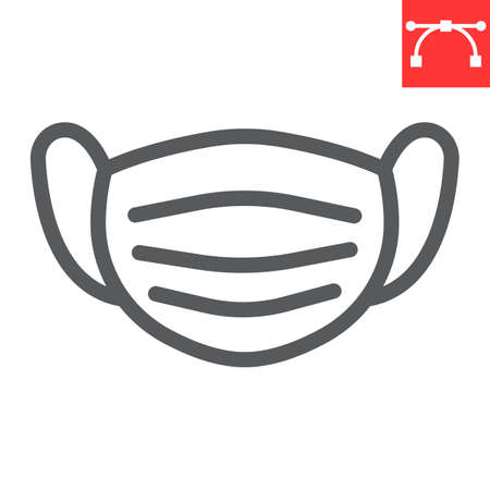 Medical mask line icon, protection and covid-19, surgical mask sign vector graphics, editable stroke linear icon, eps 10. Stok Fotoğraf - 153658995