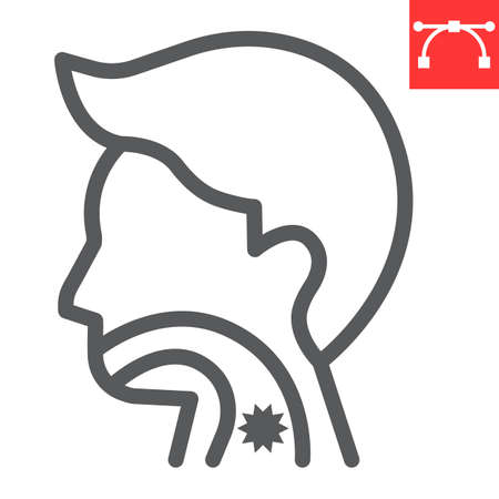 Sore throat line icon, pain and covid-19, sickness sign vector graphics, editable stroke linear icon, eps 10. Çizim