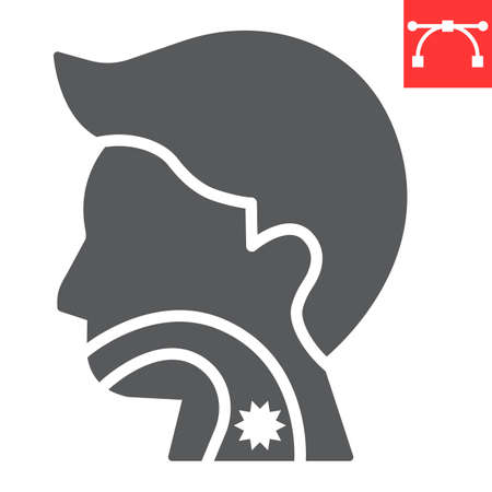 Sore throat glyph icon, pain and covid-19, sickness sign vector graphics, editable stroke solid icon, eps 10. Çizim