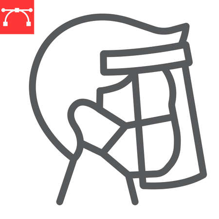 Face shield mask line icon, protection and covid-19, face mask sign vector graphics, editable stroke linear icon, eps 10. Çizim