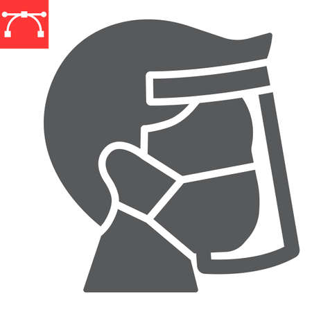 Face shield mask glyph icon, protection and covid-19, face mask sign vector graphics, editable stroke solid icon, eps 10.