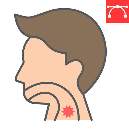 Sore throat color line icon, pain and covid-19, sickness sign vector graphics, editable stroke filled outline icon, eps 10.