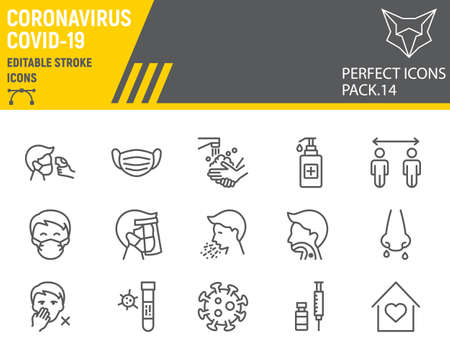Coronavirus line icon set, prevention collection, vector sketches, logo illustrations, covid-19 icons, 2019-ncov signs linear pictograms, editable stroke. Çizim