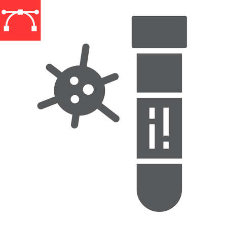 Covid-19 blood test tube glyph icon, coronavirus and diagnosis, blood test tube sign vector graphics, editable stroke solid icon, eps 10.