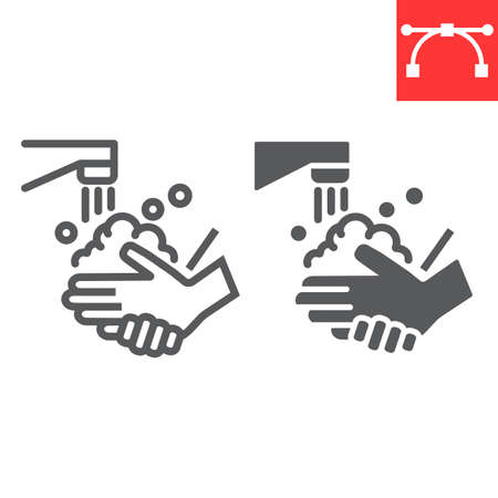 Washing your hands line and glyph icon, coronavirus and covid-19, hand washing sign vector graphics, editable stroke linear icon, Stok Fotoğraf - 153783645