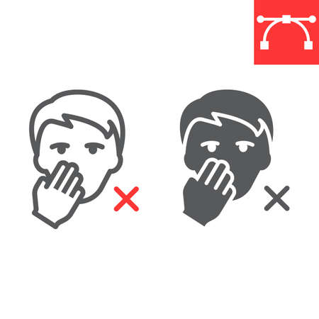 Do not touch your face line and glyph icon, coronavirus and covid-19, don t touch face sign vector graphics, editable stroke linear icon Stok Fotoğraf - 153783646