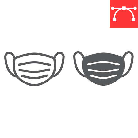 Medical mask line and glyph icon, protection and covid-19, surgical mask sign vector graphics, editable stroke linear icon,