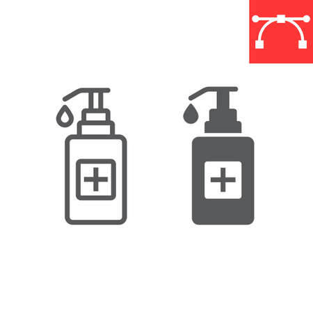 Hand sanitizer line and glyph icon, protection and covid-19, antiseptic sign vector graphics, Çizim