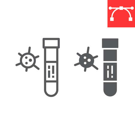 Covid-19 blood test tube line and glyph icon, coronavirus and diagnosis, blood test tube sign vector graphics, editable stroke linear
