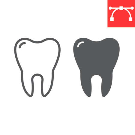 Tooth line and glyph icon, dental and stomatolgy, tooth sign vector graphics, editable stroke Stok Fotoğraf - 153783643