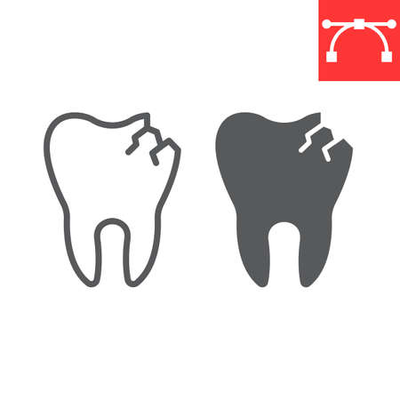 Cracked tooth line and glyph icon, dental and stomatolgy, broken tooth sign vector graphics, editable stroke linear icon