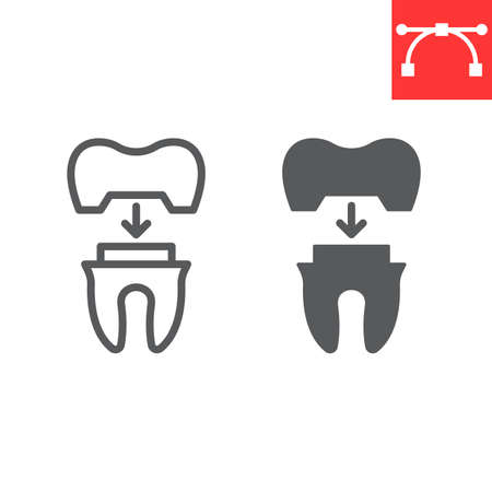 Dental crown line and glyph icon, dental and stomatolgy, tooth crown sign vector graphics, editable stroke linear icon Çizim