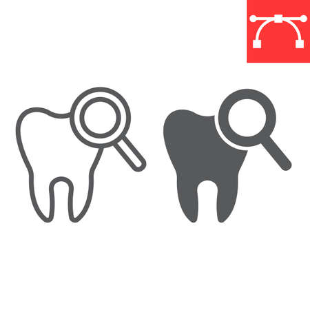 Dental checkup line and glyph icon, dental and stomatolgy, teeth check up sign vector graphics, editable stroke linear icon