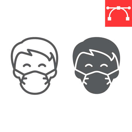 Man in face mask line and glyph icon, coronavirus and covid-19, wearing mask sign vector Çizim
