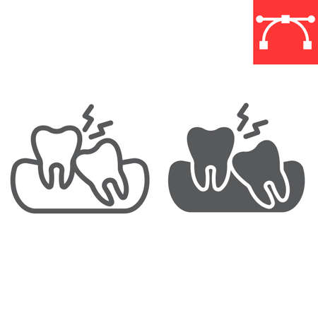Wisdom teeth line and glyph icon, dental and stomatolgy, impacted tooth sign vector graphics, editable stroke linear icon, eps 10. Çizim